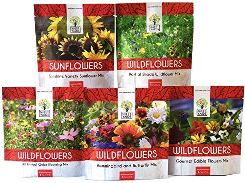 (Bulk Wildflower Seeds Variety Pack - 5 Large Packets 5 Different Mixes - Over 1/4 Pound - More Than 30,000 Open Pollinated Seeds)
