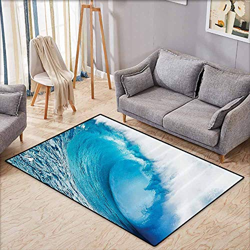 Inner Door Rug Ocean Decor Collection Surfing Water Tube Appears After Forceful Giant Wave Curls Itself on Sea Picture Blue Aqua White Easy to Clean W6'5 xL4'6