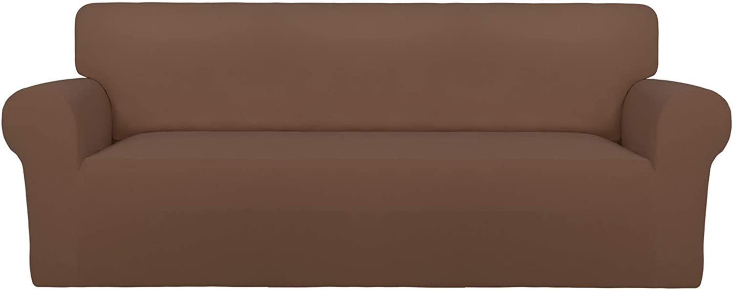 PureFit Super Stretch Oversized Sofa Slipcover – Spandex Non Slip Soft Couch Sofa Cover, Washable Furniture Protector with Non Skid Foam and Elastic Bottom for Kids, Pets (Oversized Sofa,Brown)