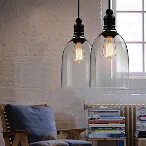 XGZ - Lámpara de techo colgante de vidrio transparente con forma de campana para cocina, recámara o comedor (foco E27 no incluida)