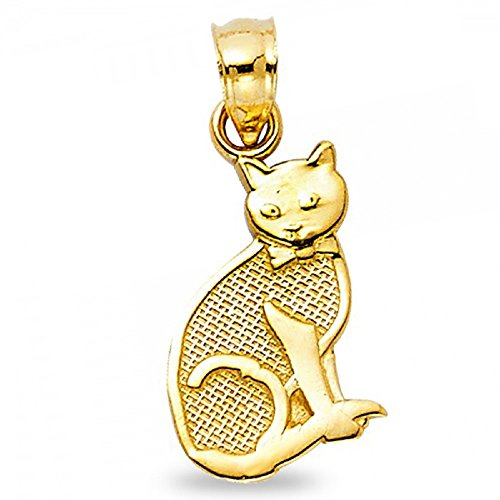 Yellow Gold Cat Charm (Cat Pendant Solid 14k Yellow Gold Kitten Charm Polished Diamond Cut Genuine Fancy 15 x 10 mm)