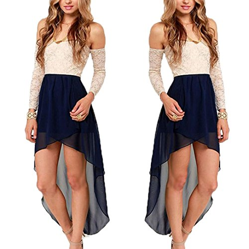 GOTD Women Lace Stitching Hollow Fashion Evening Party Casual Dress (M, Blue)