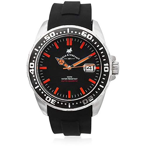 Automatic Dial Divers Orange (Field & Stream Mens Kinetic Dive Black Dial Orange Marker Rotating Bezel Rugged Sports Watch)