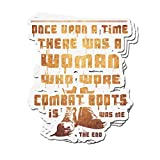 ViralTee 3 PCs Stickers There was A Woman Who Wore Combat Boots 4 × 3 Inch Die-Cut Decals