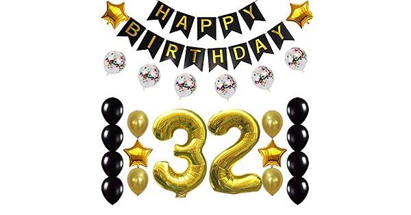 Amazon.com: Globos de confeti de 32 cumpleaños para fiestas ...