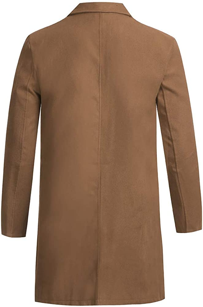 TUSANG Mens Autumn Trench Dust Coat Winter Button Slim Long Sleeve Suit Jacket Trench Coat Top Blouse