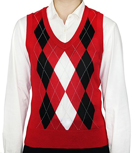 (Blue Ocean Ladies Argyle Sweater Vest-Large, Red)