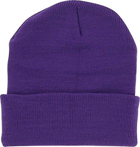 DealStock Plain Knit Cap Cold Winter Cuff Beanie (40+ Multi Color Available) (Purple) - Beanie Purple Long