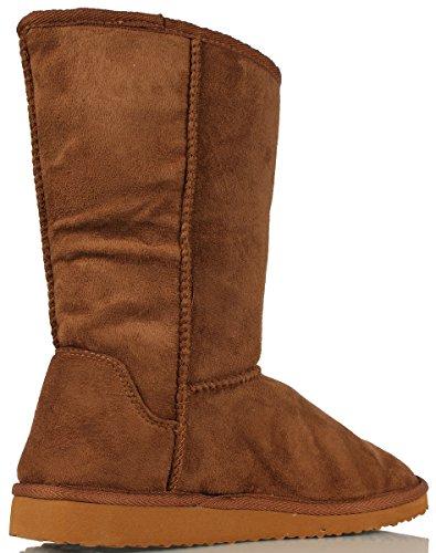 Soda Women's Soong Comfort Faux Suede Fur Mid- Calf Flat Boot, Nat, 8 M US