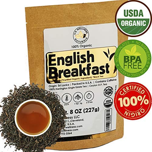 English Breakfast Tea, CRISP, RICH & AROMATIC well-rounded loose leaf tea, 110+ cups, 8oz Organic Ceylon SINGLE ESTATE tea, 100% Harrington estate, OP grade tea, U.S.A. Processed & Quality Control ()