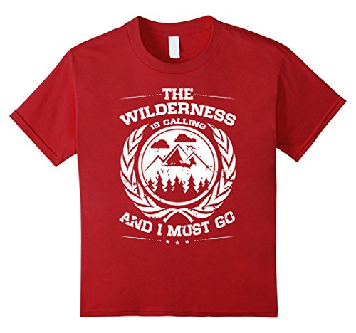 Kids The Wilderness is Calling Adventure Vintage Look T Shirt 10 Cranberry