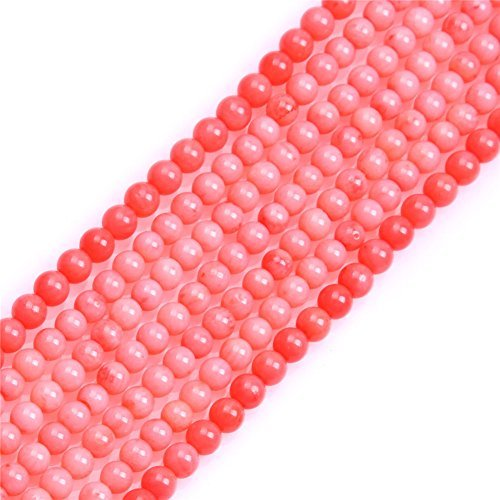 (Sweet Happy Girls 4mm Round Pink Coral Beads Strand 15 Inch Jewelry Making Beads)