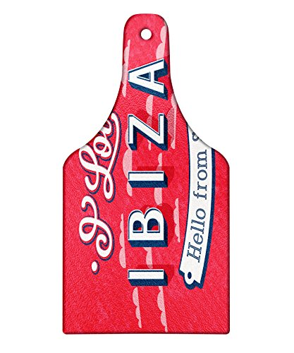 Lunarable Ibiza Cutting Board, Spring Break Vacation Place Advertisement Design Hello from Spain, Decorative Tempered Glass Cutting and Serving Board, Wine Bottle Shape, Dark Coral Blue and White by Lunarable