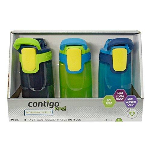 Contigo Kids Autoseal Gizmo Water Bottles, 14oz (Nautical/School boy/ Granny Smith) by Contigo