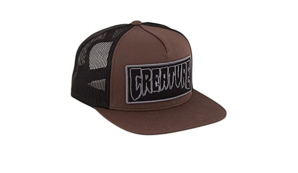 88c31c5673f Amazon.com  Creature Skateboards Reverse Patch Brown   Black Mesh Trucker  Hat - Adjustable  Sports   Outdoors
