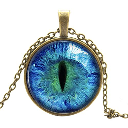 Buytra Tm Vintage Dragon Cat Eye Glass Cabochon Pendant Necklace