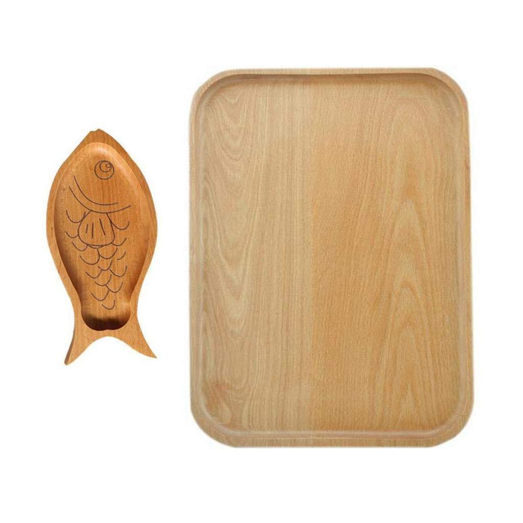 Bazzano Fish Square Home Wooden Unique Tray Dinner Plate Dessert Fruit Tea Coffee Platter
