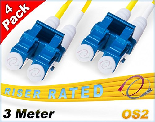 FiberCablesDirect 4Pk 3M OS2 LC LC Single Mode Fiber Patch Cables - 4 Pack | Duplex 9/125 LC to LC Singlemode Jumper Cord 3 Meter (9.84ft) | Pack Options: 2, 4, 6, 10, 12, 24 | smf patch-cord lc-lc ()