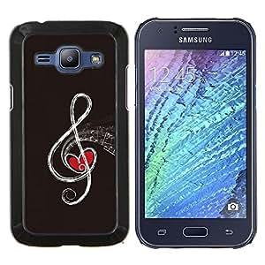 KLONGSHOP // Cubierta de piel con cierre a presión Shell trasero duro de goma Protección Caso - Nota musical - Samsung Galaxy J1 J100 //