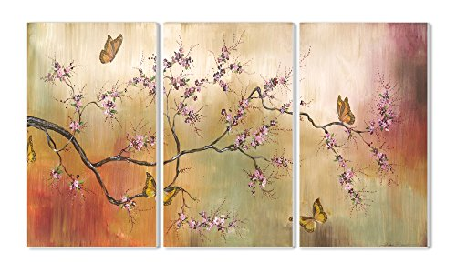 The Stupell Home Decor Collection Pink Blossoms And Butterflies 3 Piece Wall Art Panel Set
