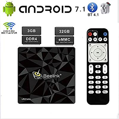 KGAYUC TV Box, Android 7.1 Smart TV Box 3GB RAM / 32GB ROM S912 Quad Core Soporte