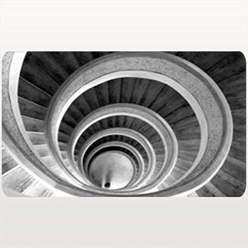DaniulloRU Doormats Design Circular Stairs Temple Blackwhite Interiors Bw Vintage Retro Spiral Custom Door Mats 18X30 Inches Bathroom/Outdoor/Indoor/Floor Non-Slip Door Rugs