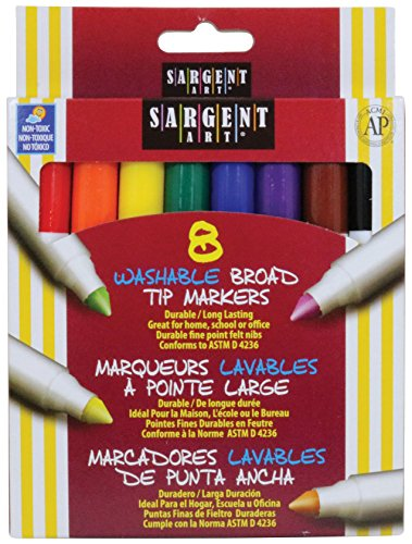 Washable Conical Tip (Sargent Art 22-1550 8-Count Washable Broad Conical Tip Assorted Set)