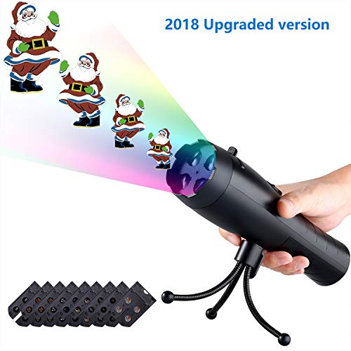 Coidak LED Christmas Lights Projector & Flashlight 2-in-1, Handheld Portable Continuous Animation Projection Light with 9 Replaceable Slides for Halloween Decorations, Thanksgiving, Birthday Party]()