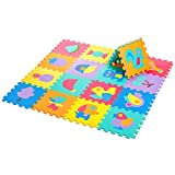 Zoeshare Puzzle Play Mat for Kids Foam Mat,18 Piece, Removable Animals and Fruits, Each Tile 12''x 12''x 0.4''