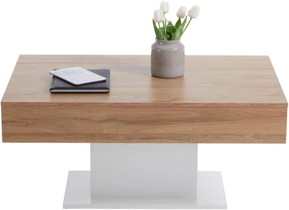 ca FMD furniture Tavolino Basso 100 x 65 x 45 cm Legno di ramoscello Beton La//Bianco Lucido