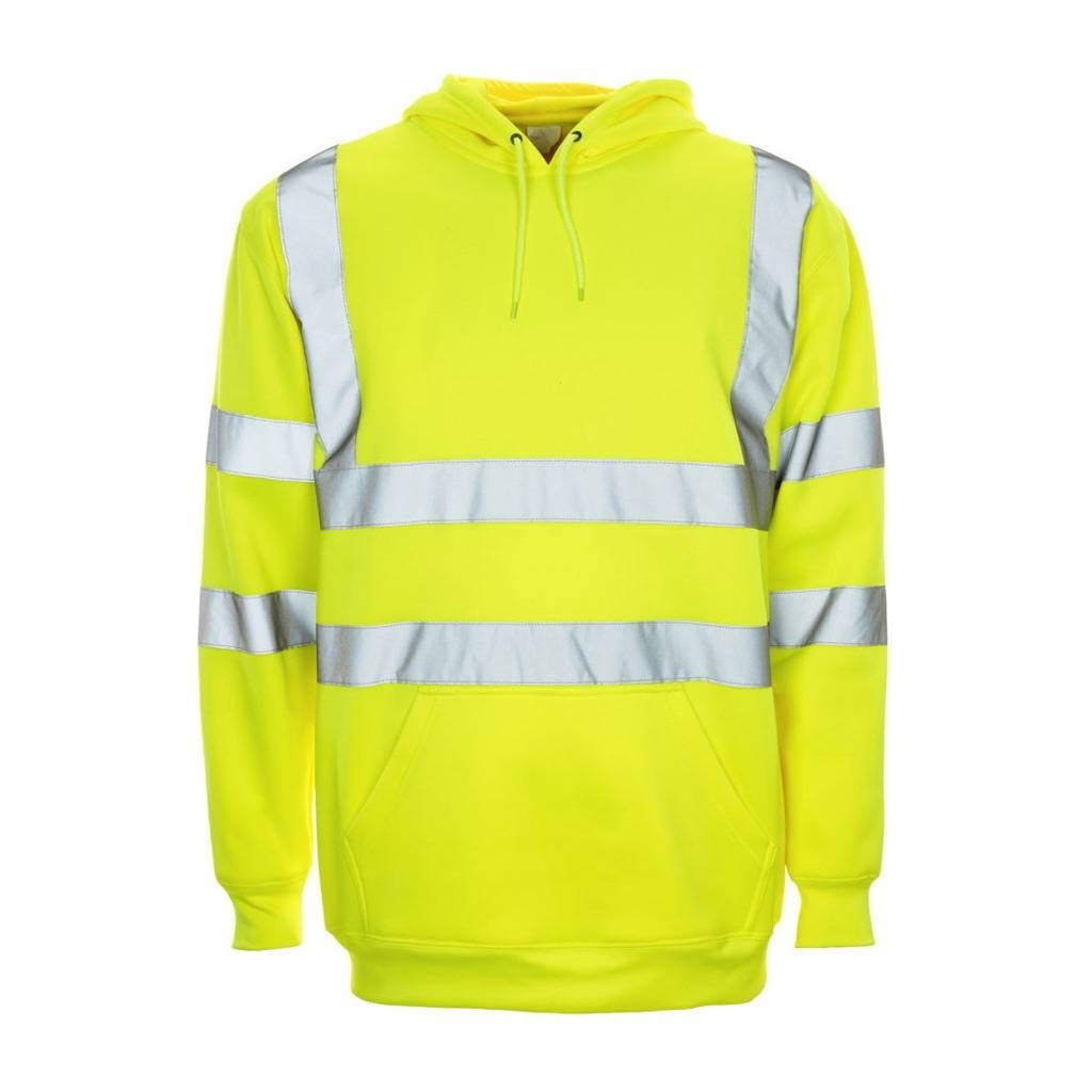 Supertouch HI VIS Hoodie, Superior HIGH Visibility Reflective Safety Strip. Hooded Jumper Workwear Sweatshirt Conforms to EN ISO 20471 Class 3