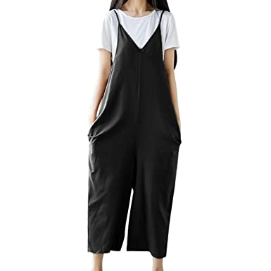 35a774880f6d SCSAlgin blouse Women Strap Wide Leg Pants Vocation Dungarees Casual  Jumpsuits Trousers Rompers (Black
