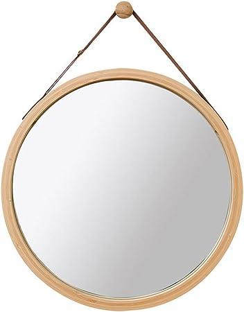 Oferta amazon: Espejo Redondo de Pared Espejo de baño Espejo de tocador Espejo de baño Espejo Decorativo de Madera de Dormitorio Espejo Redondo con Cuerda (Color : Yellow, Size : 45cm*45cm)