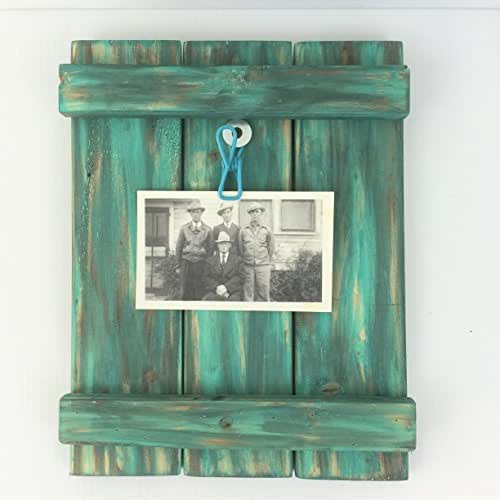 Amazon.com: Rustic Distressed Turquoise Wood Picture Clip Frame ...