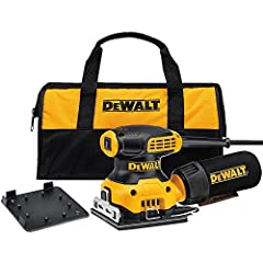 The DEWALT DWE6411K 1/4 Sheet Palm Grip Sander Kit features a 2.3 AMP motor which sands at 14,000 OPM. A rubber overmold texture will provide a smooth and comfortable control while sanding. The improved paper clamp features for better paper r...