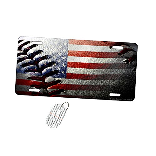 American Flag Baseball Stitch - Car Tag License Plate by New Vibe - Baseball License Plate Plates Tags