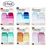 6 Pack Creative Gradient Color Memo Pads N Times Sticky Notes Index Paper Driver Stickers Self-Adhesive Sticky Paper Bookmark,Assorted Size and Color,60 Sheets/Pack