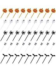 Kesote 100 delar halloween tårtdekorationer plast pumpa form, spöke, fladdermus, skalle och spindelmuffinsdekoration för smörgåsar, smörgåsar, muffins halloween dekoration