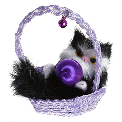 - Rurah Cute Simulation Plush Cat in Basket Kitten Toy Doll Animal Home Decoration Ornaments,3#