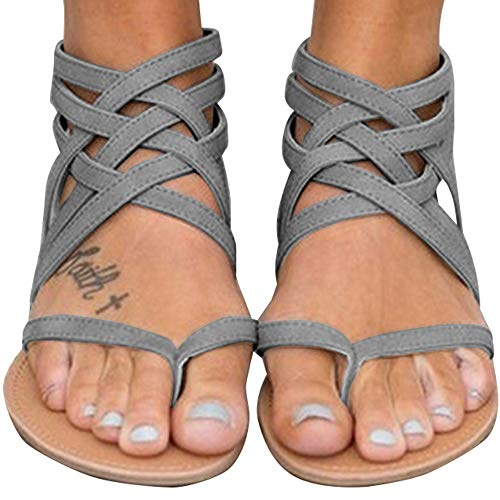 Blivener Women's Casual Gladiator Sandals Summer Zipper Strappy Thong Flats Shoes GREY36 (6)
