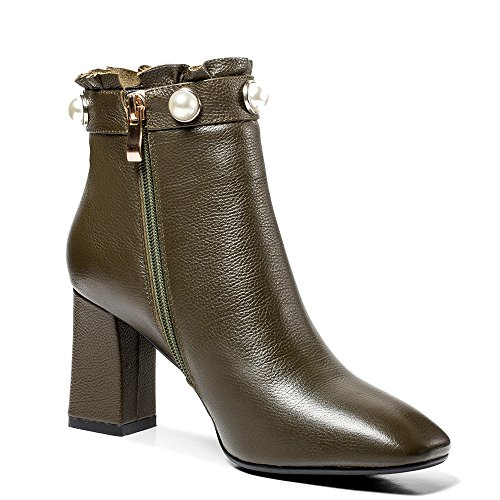 Toe Square Genuine Ankle Style Block Seven Leather Nine Handmade Khaki Boots Dressy Heel Pearls Women's 7w5Xnq7I