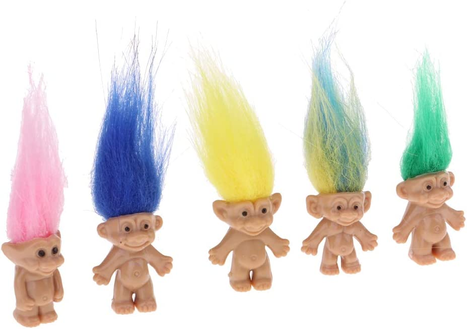 School Project Pencil Toppers Pattern 1 MagiDeal 5pcs Lucky Troll Dolls Bulk Leprocauns Dollhouse Miniatures Little Figures Toy as described Arts Crafts