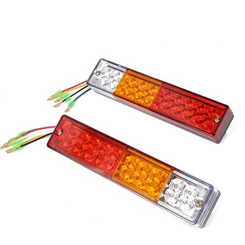 HQAP 20 LED Trailer Tail Lights Bar-Waterproof, DC10-30V Red-Amber-White for Rear Lights Turn Signal Lights Brake Lights Backup Lights Running Lights (2 Pack)