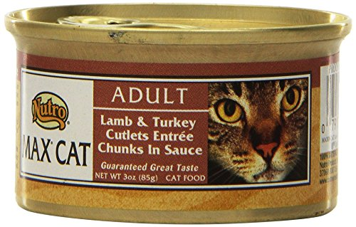 NUTRO MAX CAT Adult Lamb and Turkey Cutlets Entree Chunks in Sauce Canned Cat Food (Pack of 24)