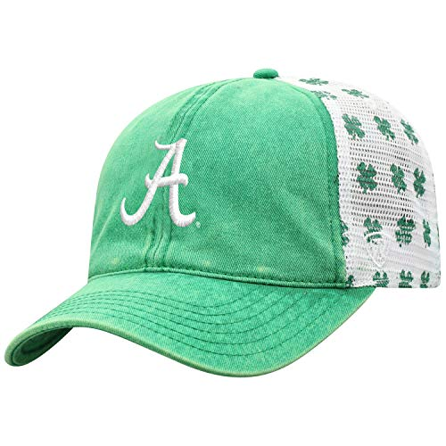 (Top of the World Alabama Crimson Tide Tow Green St. Patrick's Day Clover Mesh Adj Relax Hat Cap)