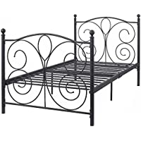 K&A Company Bed Metal Frame Vintage Twin Antique Frames Size Shabby Iron Single White Brass Headboard Footboard Full Tiger Rails Bedroom Original 83 x 43 x 42 Black Twin Size Steel
