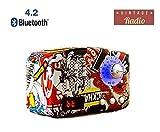 American Retro Mini Desktop FM Radio, Built-in Mic, Bluetooth 4.2 Speaker 5W Best Bass Stereo Speaker, input USB/TF card/AUX/Home Office Travel (Graffiti)