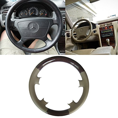 Mercedes Wood Leather Steering Wheel (Tan Leather Brown Wood Steering Wheel Protector Cover Cap for Mercedes Benz 1995-1999 W210 E Class E300 E320 E420 E430 E50 and 1993-2000 W202/C202 C Class C230 C220 C280)