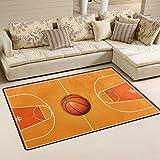 WOZO Basketball Wooden Court Area Rug Rugs Non-Slip Floor Mat Doormats Living Room Bedroom 31 x 20 inches