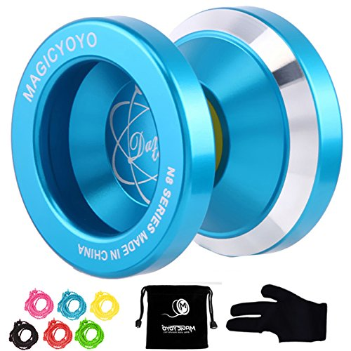Magic YoYo N8 Unresponsive Yoyo Alloy Aluminum Yo Yo + 6 Strings + Glove+Yoyo Bag Gift (Blue)